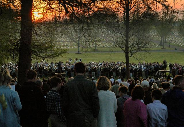 Worshippers attend a sunrise service God's Acre graveyard at Home Moravian Church in Winston-Salem, North Carolina, U.S. in this photo taken in 2010. Courtesy of Thomas J. Haupert via REUTERS