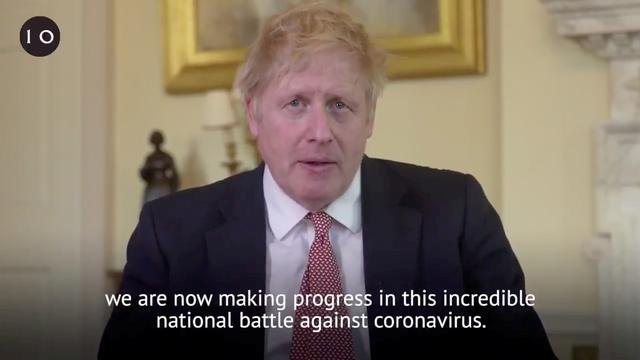 British Prime Minister Boris Johnson delivers a speech to British citizens after being discharged from hospital, in London, Britain, April 12, 2020 in this screen grab taken from social media video. Twitter/@BorisJohnson via REUTERS