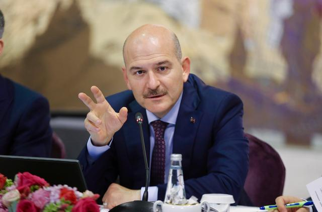 FILE PHOTO: Turkish Interior Minister Suleyman Soylu speaks during a news conference for foreign media correspondents in Istanbul, Turkey, August 21, 2019. Ahmet Bolat/Pool via REUTERS
