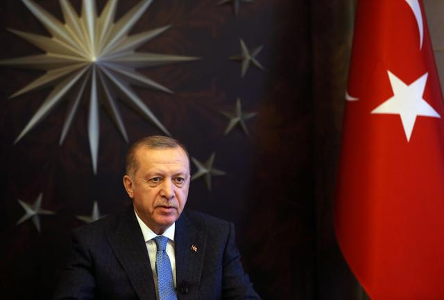 FILE PHOTO: Turkish President Tayyip Erdogan attends a videoconference with G20 leaders to discuss the coronavirus disease (COVID-19) outbreak, at Huber Mansion in Istanbul, Turkey, March 26, 2020. Presidential Press Office/Handout via REUTERS