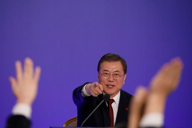 FILE PHOTO: South Korean President Moon Jae-in speaks during his New Year press conference at the presidential Blue House in Seoul, South Korea, January 14, 2020. REUTERS/Kim Hong-Ji/Pool