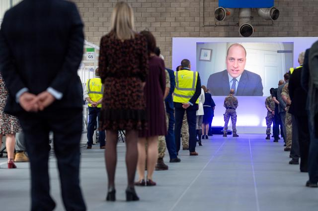 Britain's Prince William speaks via videolink as he officially opens the NHS Nightingale Hospital Birmingham, built in the National Exhibition Centre (NEC), in Birmingham, Britain April 16, 2020. Jacob King/Pool via REUTERS