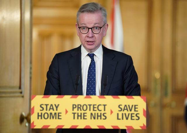 Britain's Chancellor of the Duchy of Lancaster Michael Gove speaks at a digital news conference on the coronavirus disease (COVID-19) outbreak, in 10 Downing Street in London, Britain April 4, 2020. Pippa Fowles/10 Downing Street/Handout via REUTERS
