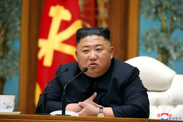 FILE PHOTO: North Korean leader Kim Jong Un takes part in a meeting of the Political Bureau of the Central Committee of the Workers' Party of Korea (WPK) in this image released by North Korea's Korean Central News Agency (KCNA) on April 11, 2020. KCNA/via REUTERS