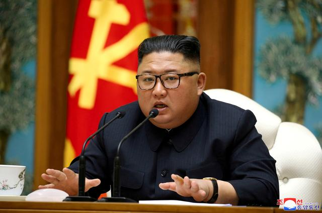 FILE PHOTO: North Korean leader Kim Jong Un speaks as he takes part in a meeting of the Political Bureau of the Central Committee of the Workers' Party of Korea (WPK) in this image released by North Korea's Korean Central News Agency (KCNA) on April 11, 2020. KCNA/via REUTERS/File Photo