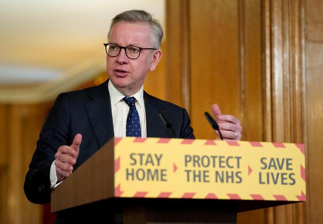 FILE PHOTO: Britain's Chancellor of the Duchy of Lancaster Michael Gove speaks at a digital news conference on the coronavirus disease (COVID-19) outbreak, in 10 Downing Street in London, Britain April 4, 2020. Pippa Fowles/10 Downing Street/Handout via REUTERS