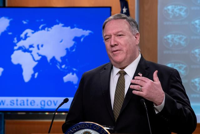 FILE PHOTO: U.S. Secretary of State Mike Pompeo speaks at a press briefing at the State Department in Washington, U.S., April 22, 2020.  Nicholas Kamm/Pool via REUTERS