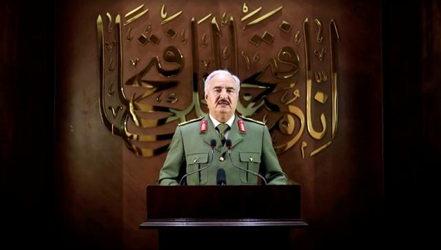FILE PHOTO: Libya's eastern-based military leader Khalifa Haftar is seen in an unknown location in this screen grab taken from a video released on April 27, 2020. LIBYAN NATIONAL ARMY HANDOUT/Reuters TV via REUTERS