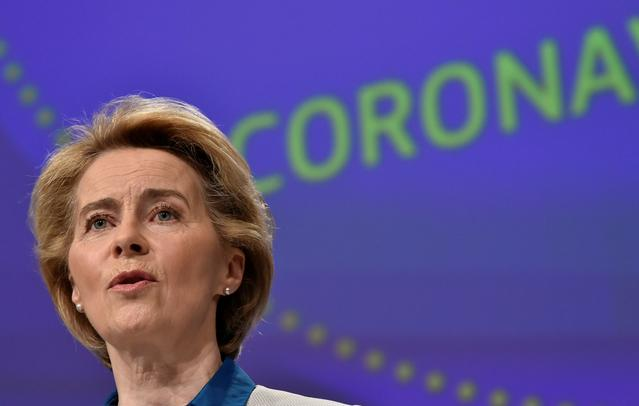 FILE PHOTO: The President of European Commission Ursula von der Leyen holds a news conference on the European Union response to the coronavirus disease (COVID-19) crisis at the EU headquarters in Brussels, April 15, 2020.  John Thys/Pool via REUTERS