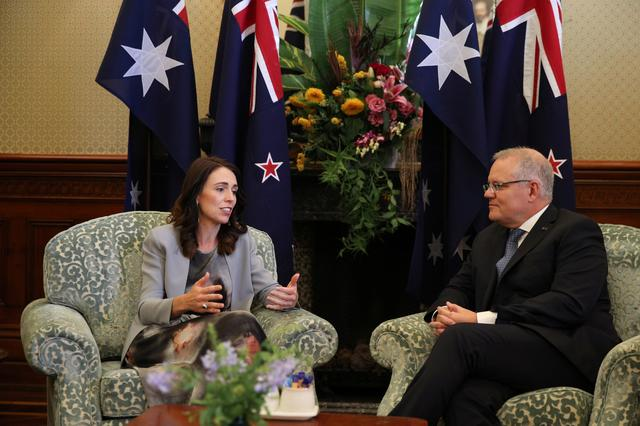 FILE PHOTO: New Zealand Prime Minister Jacinda Ardern meets with Australian Prime Minister Scott Morrison at Admiralty House in Sydney, Australia, February 28, 2020.  REUTERS/Loren Elliott
