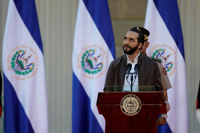 FILE PHOTO: El Salvador President Nayib Bukele speaks during a ceremony to deploy military personnel to support his security plan in San Salvador, El Salvador, February 18, 2020. REUTERS/Jose Cabezas
