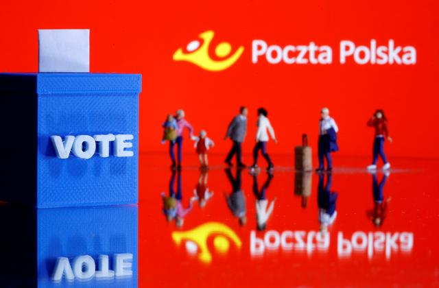 FILE PHOTO: A 3D printed ballot box and toy people figures are seen in front of displayed Poczta Polska logo in this illustration taken May 4, 2020. REUTERS/Dado Ruvic/Illustration/File Photo