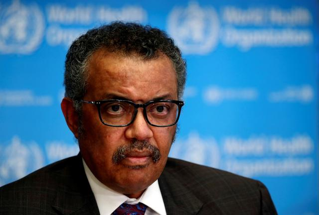 FILE PHOTO: Director General of the World Health Organization (WHO) Tedros Adhanom Ghebreyesus attends a news conference on the situation of the coronavirus (COVID-2019), in Geneva, Switzerland, February 28, 2020. REUTERS/Denis Balibouse/
