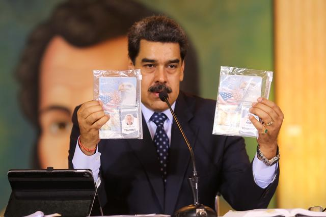 Personal documents are shown by Venezuela's President Nicolas Maduro during a virtual news conference in Caracas, Venezuela May 6, 2020. Miraflores Palace/Handout via REUTERS