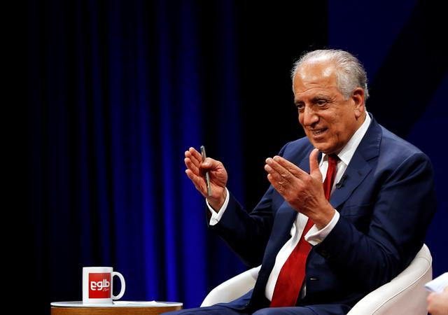 FILE PHOTO: U.S. envoy for peace in Afghanistan Zalmay Khalilzad speaks during a debate at Tolo TV channel in Kabul, Afghanistan April 28, 2019. REUTERS/Omar Sobhani