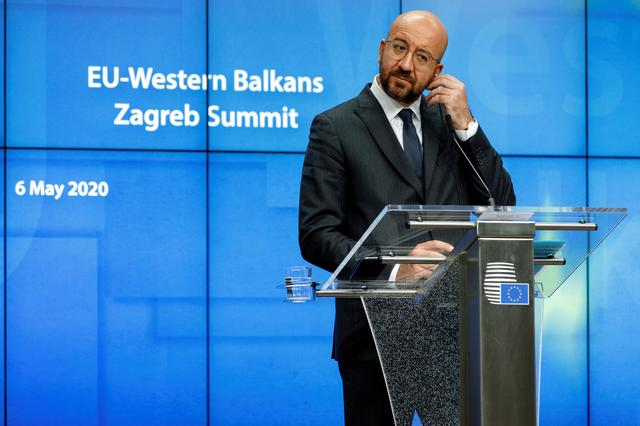 European Council President Charles Michel attends a media conference after an EU-Western Balkans videoconference summit at the EU Council building in Brussels, Belgium May 6, 2020.Olivier Matthys/Pool via REUTERS