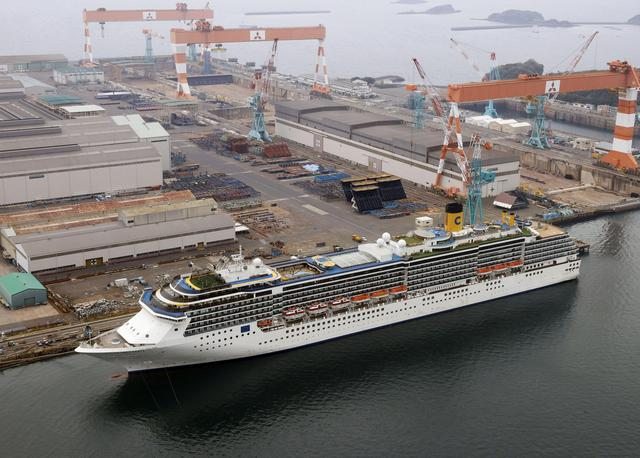 An aerial view shows Italian cruise ship Costa Atlantica, which has crew members confirmed with cases of the coronavirus disease (COVID-19) infection, in Nagasaki, Japan April 26, 2020 in this photo taken by Kyodo. Picture taken April 26, 2020. Mandatory credit Kyodo via REUTERS ATTENTION EDITORS - THIS IMAGE WAS PROVIDED BY A THIRD PARTY. MANDATORY CREDIT. JAPAN OUT. NO COMMERCIAL OR EDITORIAL SALES IN JAPAN.