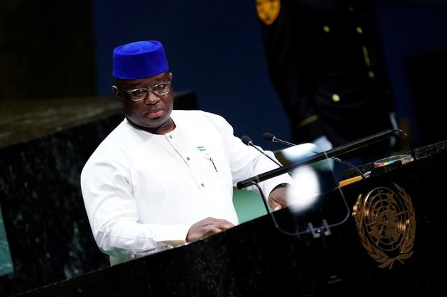 FILE PHOTO: Sierra Leone's President Julius Maada Bio addresses the 74th session of the United Nations General Assembly at U.N. headquarters in New York City, New York, U.S., September 26, 2019. REUTERS/Carlo Allegri/File Photo