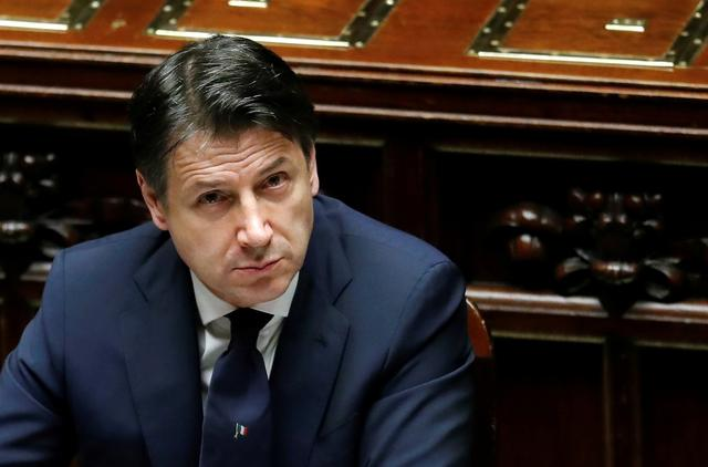 FILE PHOTO: Italian Prime Minister Giuseppe Conte attends a session of the lower house of parliament on the coronavirus disease (COVID-19) in Rome, Italy April 21, 2020. REUTERS/Remo Casilli/File Photo