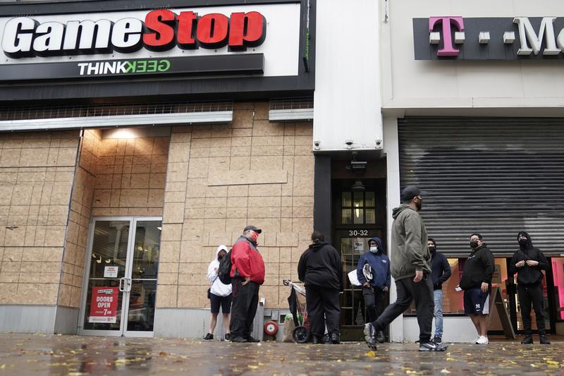 Shares of U.S. videogame retailer GameStop skyrocketed by 144% on Monday as short sellers scrambled to cover their positions in the stock, which then pared gains in a roller coaster session that featured nine trading halts for volatility.