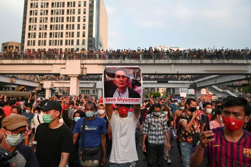 Tens of Thousands in Myanmar Protest Against Military Coup Despite Internet Blackout
