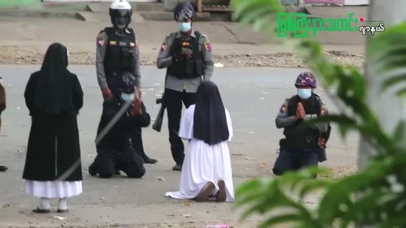WATCH: Nun Kneels in Front of Police in Myanmar and Pleads for Them to Stop Shooting Protesters