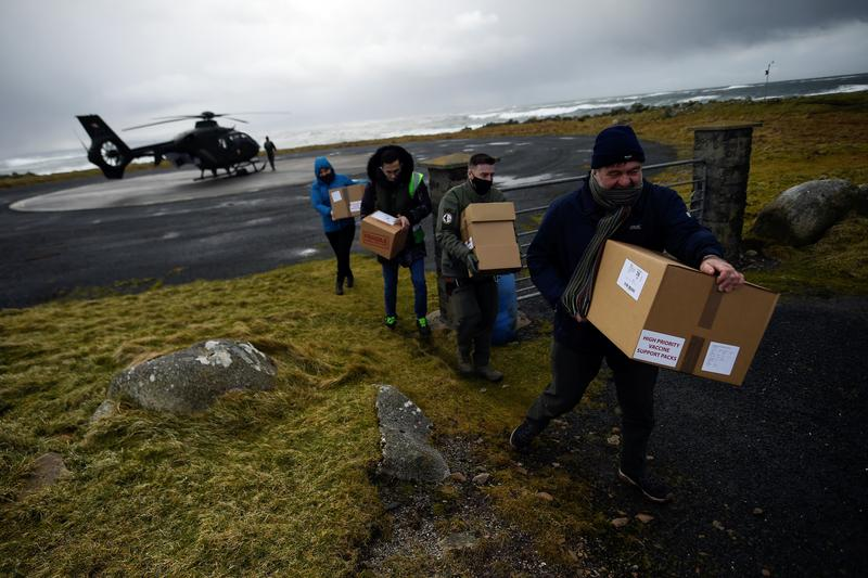 Air Corps Helicopter Vaccine Drop Brings Relief to Small Irish Island