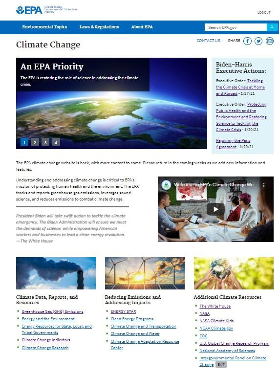 Biden restores climate change page to EPA website, reversing Trump